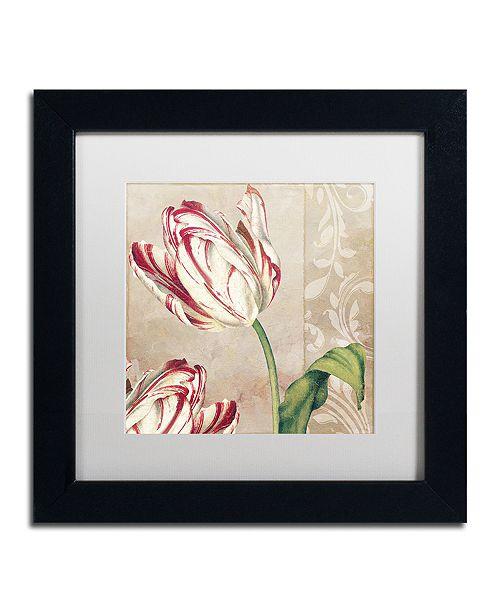 "Trademark Global Color Bakery 'Peppermint Tulips I' Matted Framed Art, 11"" x 11"""