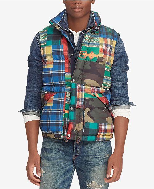 0e8412510 Polo Ralph Lauren Men s Patchwork Water-Repellent Down Vest ...