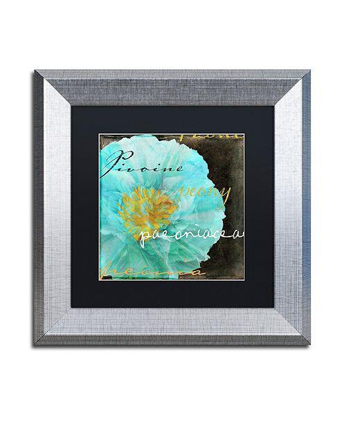 "Trademark Global Color Bakery 'Blue Peony Dark' Matted Framed Art, 11"" x 11"""