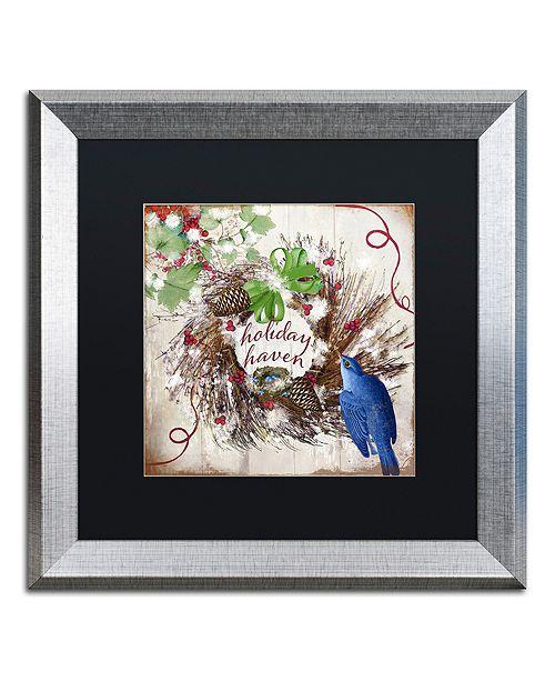 "Trademark Global Color Bakery 'Bluebird Christmas Ii' Matted Framed Art, 16"" x 16"""