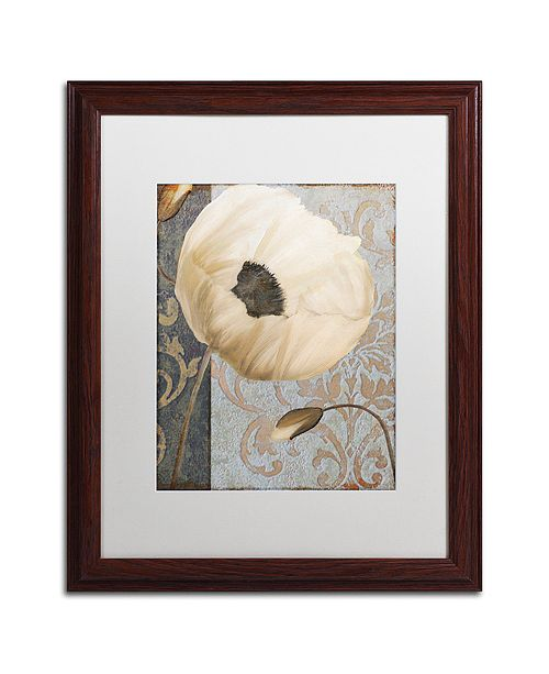 "Trademark Global Color Bakery 'Poppy Brocade I' Matted Framed Art, 16"" x 20"""