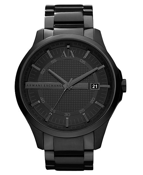 93cc48341 ... A|X Armani Exchange Watch, Men's Black Ion Plated Stainless Steel  Bracelet 46mm AX2104 ...