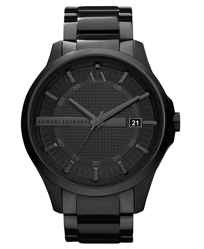 A|X Armani Exchange - Watch, Men's Black Ion Plated Stainless Steel Bracelet 46mm X2104