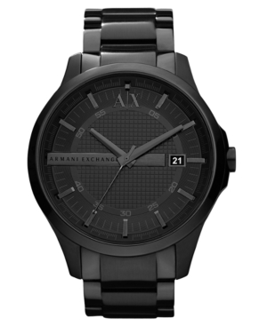 AX Armani Exchange Watch, Men's Black Ion Plated Stainless Steel Bracelet 46mm AX2104