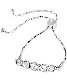 GUESS Silver-Tone Crystal Slider Bracelet