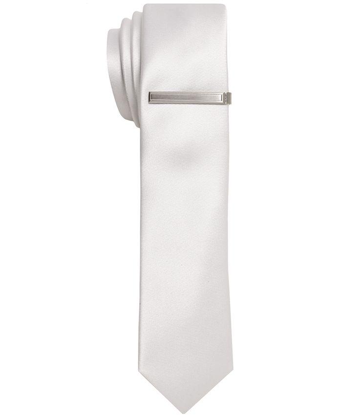 Alfani - Tie, Solid Sateen Skinny Tie with Tie Bar