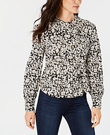 Lucky Brand Printed Pintuck-Pleat Blouse
