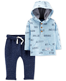Carter's Baby Boys 2-Pc. Cotton Printed Hoodie & Marled Jogger Pants Set