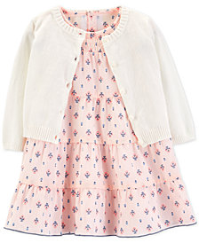 Carter's Baby Girls 2-Pc. Cotton Floral-Print Dress & Cardigan Set