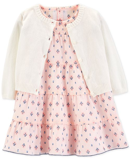21806ef7bd3 ... Cardigan Set  Carter s Baby Girls 2-Pc. Cotton Floral-Print Dress    Cardigan ...