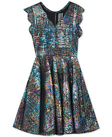 Rare Editions Big Girls Foil Skater Dress