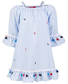 Good Lad Toddler Girls Striped Seersucker Nautical Dress