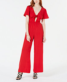 Material Girl Juniors' Deep V Flutter-Sleeved Jumpsuit, Created for Macy's
