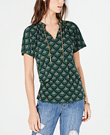 MICHAEL Michael Kors Petite Printed Chain-Neck Top