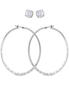 Silver-Tone 2-Pc. Set Crystal Stud & Hoop Earrings