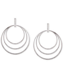 GUESS Silver-Tone Pavé Multi-Row Door Knocker Earrings