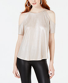 Material Girl Juniors' Shine Cold-Shoulder Top, Created for Macy's
