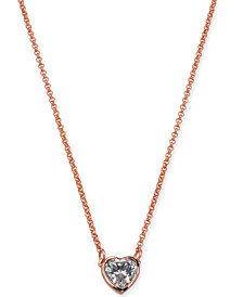 "kate spade new york Crystal Heart Pendant Necklace, 16"" + 3"" extender"