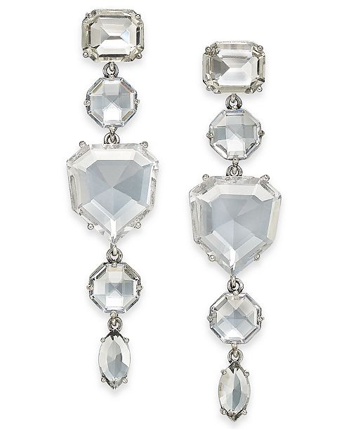 18e8418914119 Silver-Tone Crystal Linear Drop Earrings