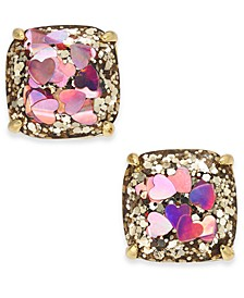 Gold-Tone Heart Glitter Square Stud Earrings