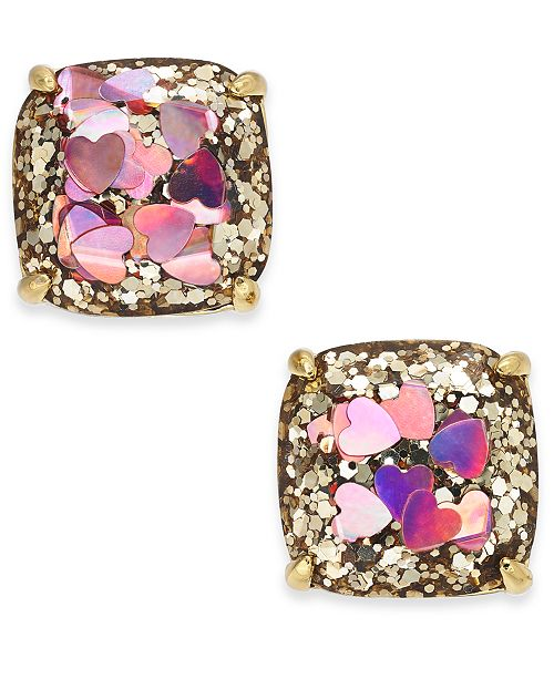 98e60ed60 ... kate spade new york Gold-Tone Heart Glitter Square Stud Earrings ...