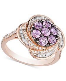 Pink Sapphire (9/10 ct. t.w.) & Diamond (1/2 ct. t.w.) Ring in 10k Rose Gold