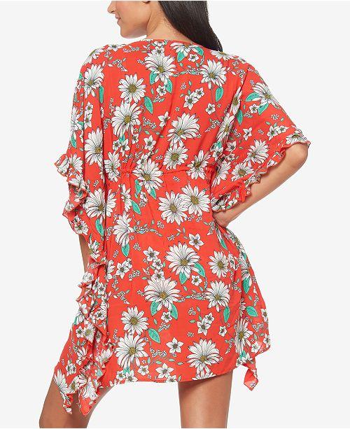 1624e5f88d Jessica Simpson Printed Ruffle-Sleeve Cover-Up & Reviews - Swimwear ...