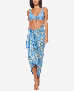 Retro Tiki Dress – Tropical, Hawaiian Dresses Jessica Simpson Printed Sarong Cover-Up Womens Swimsuit $56.25 AT vintagedancer.com