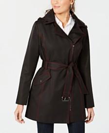 MICHAEL Michael Kors Asymmetrical Water Resistant Belted Raincoat