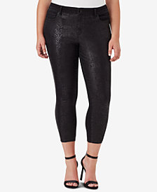 WILLIAM RAST Trendy Plus Size Python-Embossed Skinny Jeans