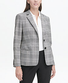 Tommy Hilfiger Plaid Elbow-Patch Blazer
