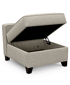 "Clarke II 27"" Fabric Storage Armless Chair, Created for Macy's"