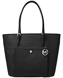 MICHAEL Michael Kors Signature Jet Set Item Large Top Zip Snap Pocket Tote
