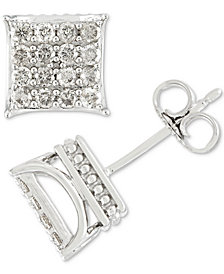 Men's Diamond Square Cluster Stud Earrings (1/2 ct. t.w.) in 10k Gold
