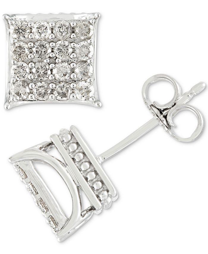 Macy's - Men's Diamond Square Cluster Stud Earrings (1/2 ct. t.w.) in 10k White Gold