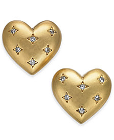 kate spade new york Gold-Tone Pavé Heart Stud Earrings
