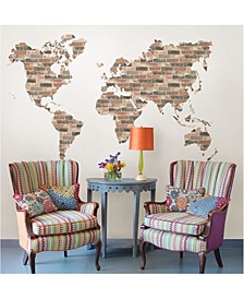 Brick Wall World Map Wall Art Kit