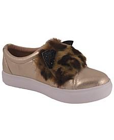 Jessica Simpson Youth Big Kids Faux Fur Slip-On Gold Metallic Sneaker