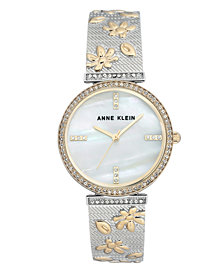 Anne Klein Genuine Mother of Pearl Dial with Swarovski Crystals