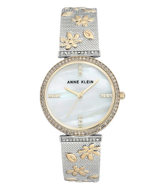 90800fdc5 ... Anne Klein Genuine Mother of Pearl Dial with Swarovski Crystals Watch  ...