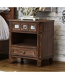 Transitional Style Night Stand, Rustic Oak