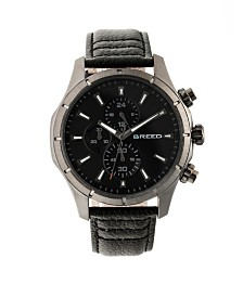Breed Quartz Lacroix Chronograph Gunmetal And Black Genuine Leather Watches 47mm