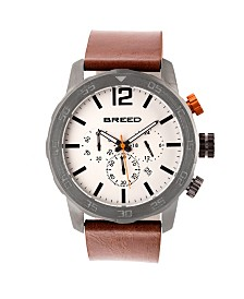 Breed Quartz Manuel Chronograph Gunmetal And Silver Genuine Leather Watches 46mm