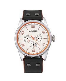Quartz Rio Silver And Black-Orange Genuine Leather Watches 43mm