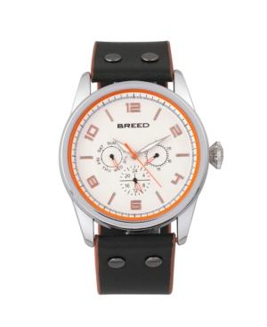 Breed Quartz Rio Silver And Black-Orange Genuine Leather Watches 43mm