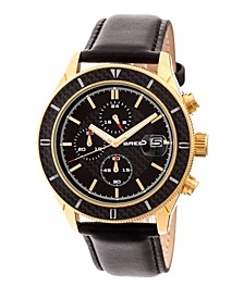 Quartz Maverick Chronograph Gold And Black Genuine Leather Watches 43mm