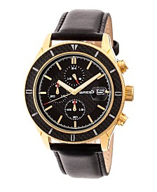 Breed Quartz Maverick Chronograph Gold And Black Genuine Leather Watches 43mm
