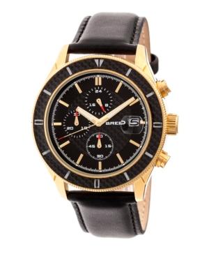 Breed Quartz Maverick Chronograph Gold And Black Genuine Leather Watches 43mm