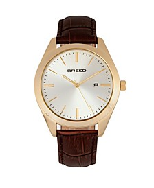 Quartz Louis Gold And Brown And Silver Genuine Leather Watches 42mm