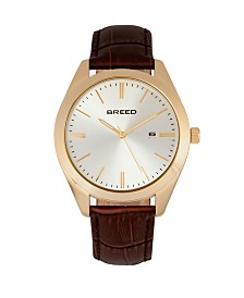 Breed Quartz Louis Gold And Brown And Silver Genuine Leather Watches 42mm